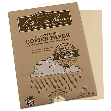 """Rite in the Rain® All-Weather Printer Paper, Letter Size (8 1/2"""" x 11""""), 20 Lb, Tan, 50 Sheets"""