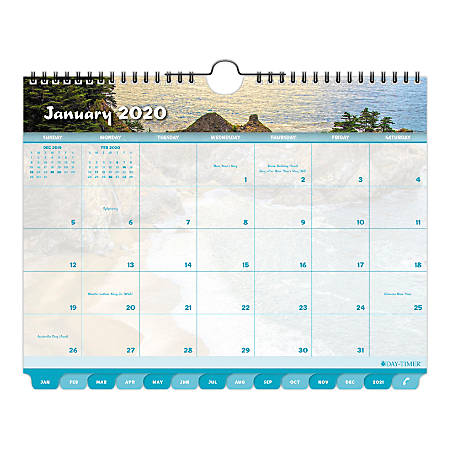 "Day-Timer® Coastlines® Tabbed Monthly Wall Calendar, 11"" x 8-1/2"", January To December 2020, 113522001"