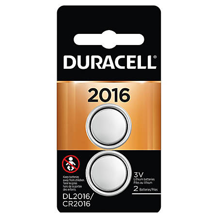 Duracell 3-Volt Lithium 2016 Coin Button Battery, Pack of 2