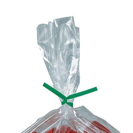 "Partners Brand Plastic Twist Ties, 5/32"" x 9"", Green, Case Of 2,000"