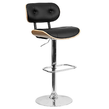 Flash Furniture Bentwood Adjustable-Height Barstool, Beech/Black/Silver
