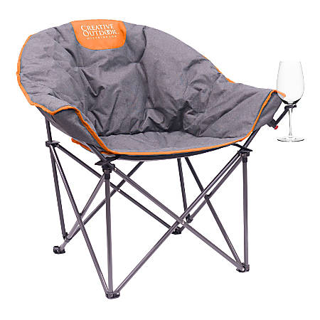 Creative Outdoor Bucket Moon Wine Chair, Gray/Orange
