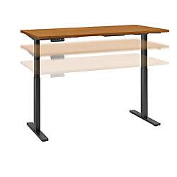 "Bush Business Furniture Move 60 Series 60""W x 30""D Height Adjustable Standing Desk, Natural Cherry/Black Base, Premium Installation"