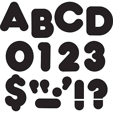 """Trend 3"""" Casual Uppercase Ready Letters - 83, 28 (Capital Letter, Punctuation Marks) Shape - Reusable, Precut - 3"""" Height - Black - Paper - 1 Pack"""
