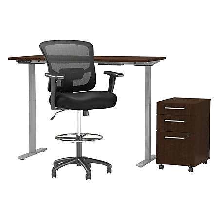 """Move 60 Series by Bush Business Furniture 60""""W Height Adjustable Standing Desk With Storage And Drafting Chair, Mocha Cherry, Standard Delivery"""