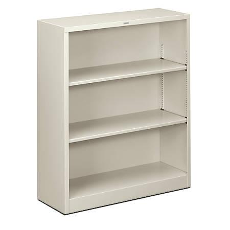 HON® Brigade® Steel Bookcase, 3 Shelves, Light Gray