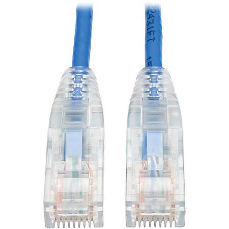 Tripp Lite 1ft Cat6 Gigabit Snagless Molded Slim UTP Patch Cable RJ45 M/M Blue 1' - 1 ft Category 6e Network Cable for Network Device, Switch, Router, Server, Modem, Printer, Computer - First End: 1 x RJ-45 Male Network - Second End: 1 x RJ-45 Male
