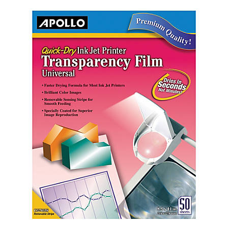 Apollo Quick-Dry Universal Inkjet Transparency Film, Box Of 50