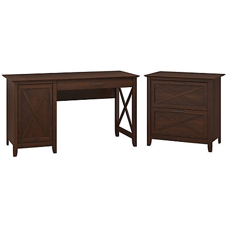 "Bush Furniture Key West 54""W Computer Desk With Storage And 2 Drawer Lateral File Cabinet, Bing Cherry, Standard Delivery"