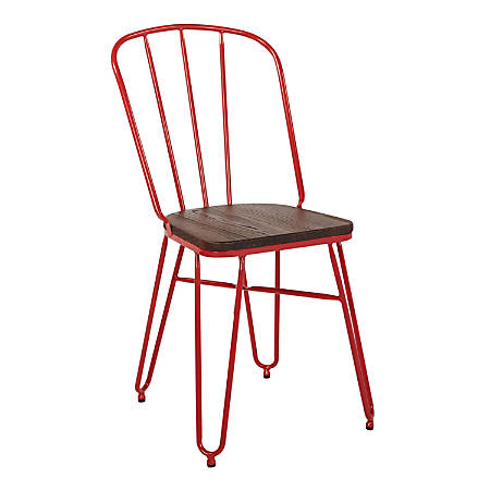 Office Star™ Charleston Folding Chairs, Red, Set Of 2 Chairs