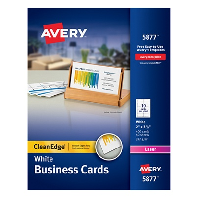 Avery Laser Clean Edge Two Side Printable Business Cards 2 X 3 1 2 White Pack Of 400 Item 521598