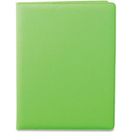 "Samsill Fashion Padfolio Pad Holder - Letter - 8 1/2"" x 11"" Sheet Size - 3 Pocket(s) - Polyvinyl Chloride (PVC) - Lime - 1 Each"