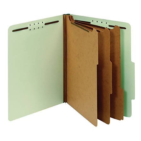 "Office Depot® Brand Classification Folder, 3 1/2"" Expansion, Letter Size, 3 Dividers, Light Green"