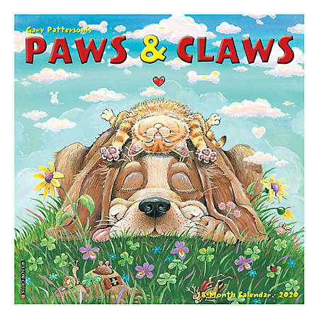 "Willow Creek Press Animals Monthly Wall Calendar, 12"" x 12"", Paws & Claws by Gary Patterson, January To December 2020"