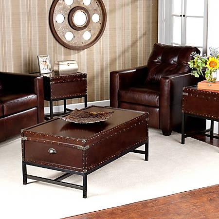 Southern Enterprises Voyager Trunk Tables, Espresso, Set Of 3