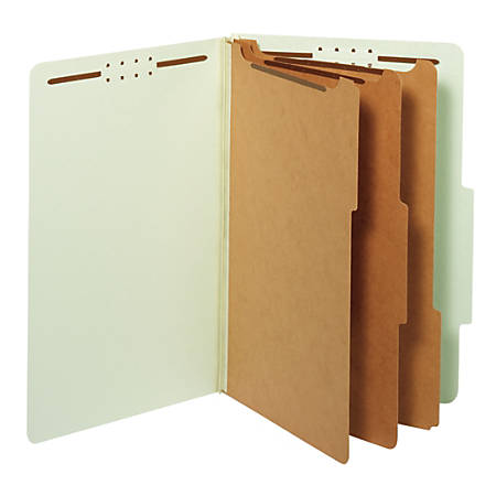 "Office Depot® Brand Classification Folder, 3 1/2"" Expansion, Legal Size, 3 Dividers, Light Green"