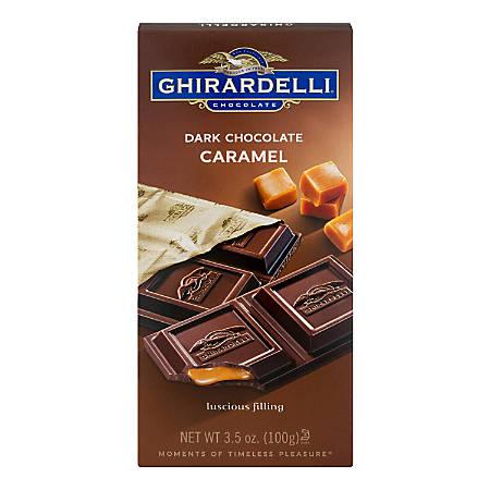 Ghirardelli® Chocolate Bars, Dark Chocolate Caramel, 3.5 Oz, Pack Of 12 Bars