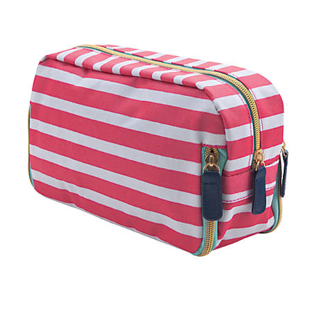 """See Jane Work® Going Places 3-Zipper Access Pouch, 10""""H x 6""""W x 3 1/4""""D, Pink Stripe"""