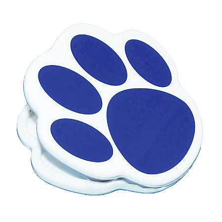 """Ashley Productions Magnetic Clips, 3"""", Paw, Blue, Pack Of 12"""