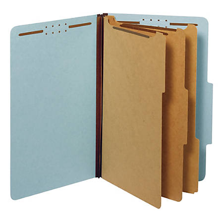 "Office Depot® Brand Classification Folder, 3 1/2"" Expansion, Legal Size, 3 Dividers, Light Blue"