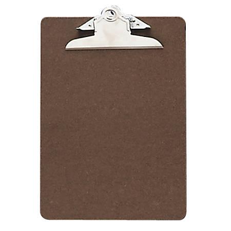 "OIC® 100% Recycled Hardboard Clipboard, Memo Size, 6"" x 9"", Brown"