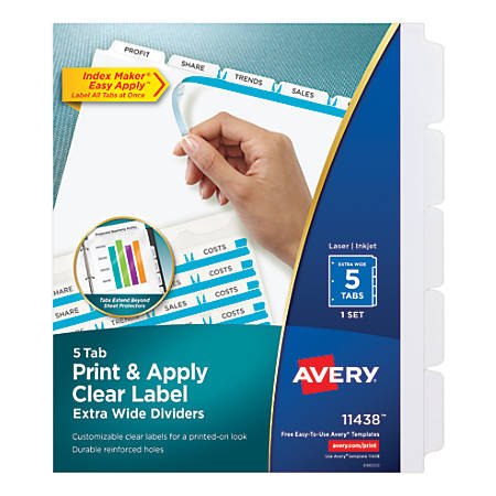 Avery® Index Maker Extra-Wide Tab Dividers, 5-Tab, White