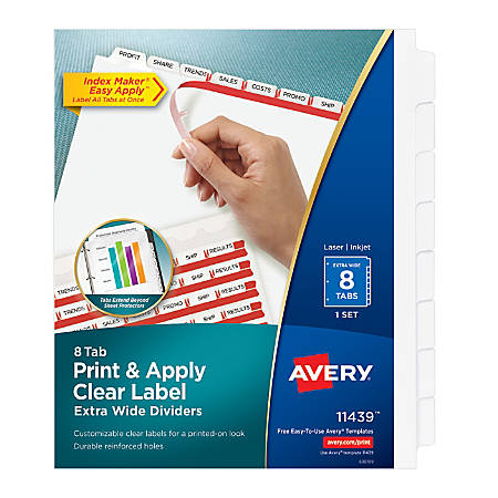 Avery® 20% Recycled Index Maker Extra-Wide Tab Dividers, 8-Tab, White