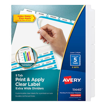 Avery® Print & Apply Clear Label Extra-Wide Dividers with Index Maker® Easy Apply™ Printable Label Strip, 5-Tab, White, Pack of 5 Sets