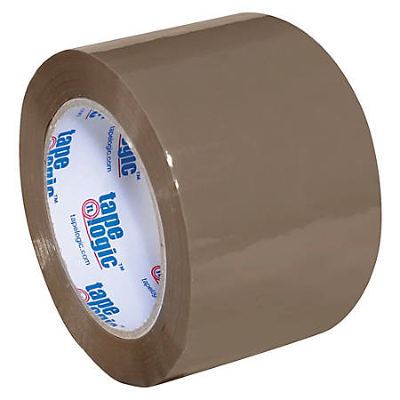 "Tape Logic® Acrylic Tape, 3"" Core, 3"" x 110 Yd., Tan, Case Of 24"