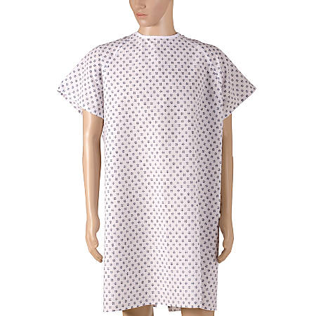DMI® Convalescent Hospital Gown With Back Ties, Adult, Print