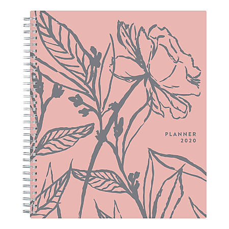 "Blue Sky™ Stay Chic Weekly/Monthly Planner, 8"" x 10"", Rose Glossy, January To December 2020, 117441"