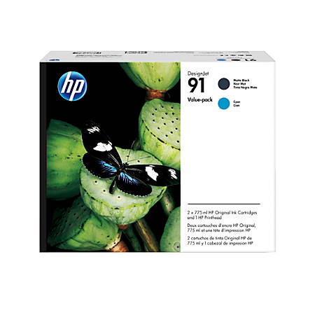 HP 91 Printhead/Matte Black/Cyan Ink Cartridges (P2V35A), Pack Of 3