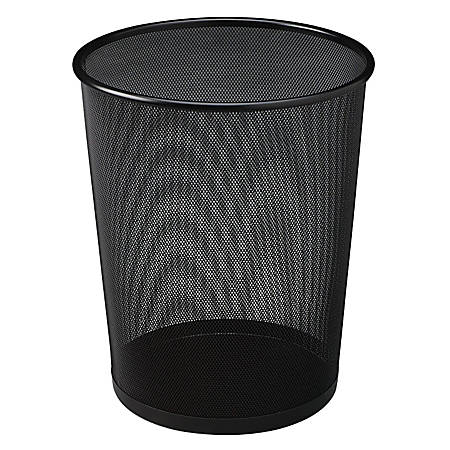 United Receptacle 30% Recycled Steel Mesh Round Wastebasket, 5 Gallons, Black