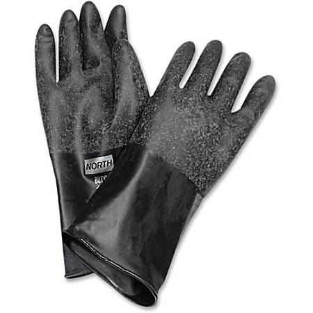 """NORTH 14"""" Unsupported Butyl Gloves - Chemical Protection - 8 Size Number - Butyl - Black - Water Resistant, Durable, Chemical Resistant, Ketone Resistant, Rolled Beaded Cuff, Comfortable, Abrasion Resistant, Cut Resistant, Tear Resistant"""