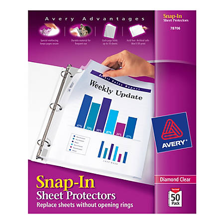 Avery® Snap-In Top-Loading Sheet Protectors, Letter Size, Clear, Pack Of 50