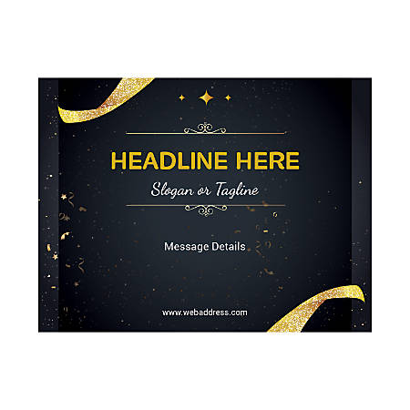 Custom Flyers, Horizontal, Gold Confetti