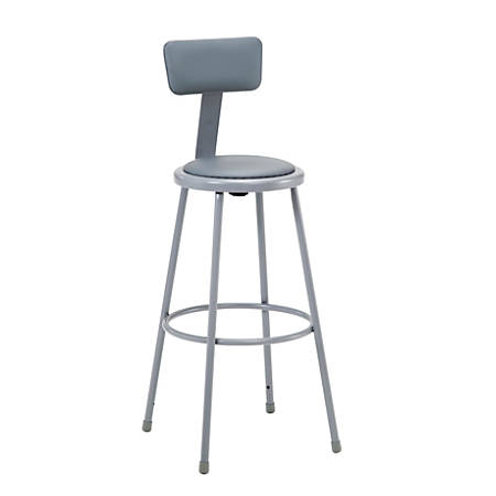"""National Public Seating Vinyl-Padded Stool With Back, 30""""H, Gray"""