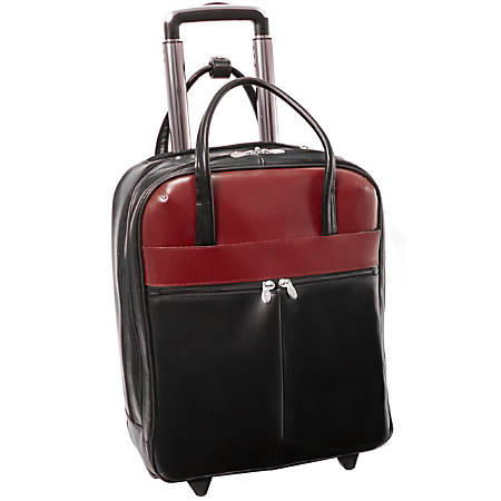 """McKleinUSA Volo L Series Leather Laptop Overnighter Wheeled Carry-On Bag With 15.6"""" Laptop Pocket, Black/Red"""