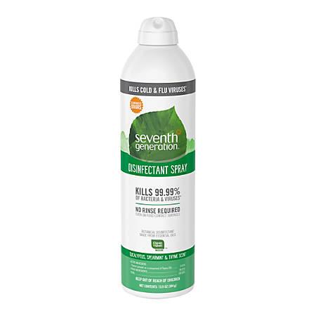 Seventh Generation Eucalyptus/Thyme Disinfectant Spray - Spray - 0.11 gal (13.90 fl oz) - Eucalyptus Spearmint & Thyme Scent - 1 Each - Clear
