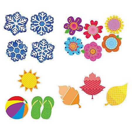 "Creative Teaching Press Seasonal 3"" Cut-outs - Fun Theme/Subject (Snowflake, Flower, Leaves) Shape - 3"" Height - Multicolor - 4 / Pack"