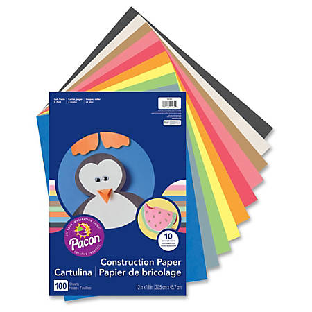 """Rainbow® Super Value Construction Paper, 12"""" x 18"""", Assorted Colors, Pack Of 100"""