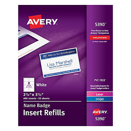 avery laser name badge inserts 2 14 x 3 12 box of 400 by office