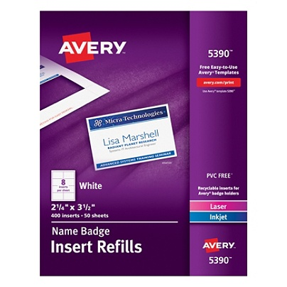 Avery Laser Name Badge Inserts X Box Of By Office - Officemax name badge template