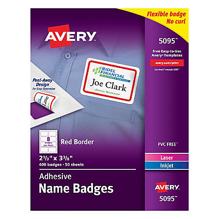 """Avery® Flexible Name Badge Labels, 2 1/3"""" x 3 3/8"""", White With Red Border, Box Of 400"""