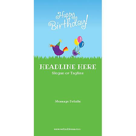 Custom Vertical Banner, Birthday Birds