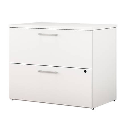 "Bush Business Furniture 400 Series 2 Drawer Lateral File Cabinet, 36""W, White, Premium Installation"