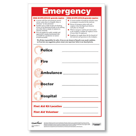 "ComplyRight Emergency Numbers Safety Poster And Pen Set, English, 8 1/2"" x 14"""