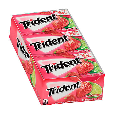 Trident® Sugar-Free Island Berry Lime Gum, 14 Pieces Per Pack, Box Of 12 Packs