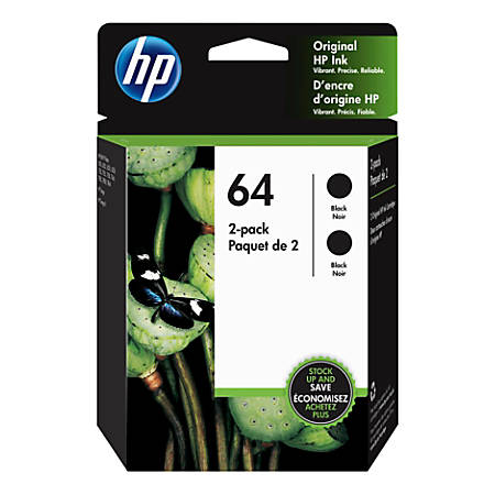 HP 64 Black Ink Cartridges, Pack Of 2 Cartridges