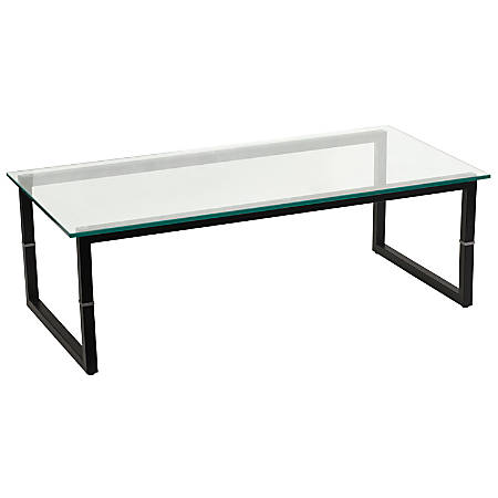 Flash Furniture Glass Coffee Table, Clear/Black